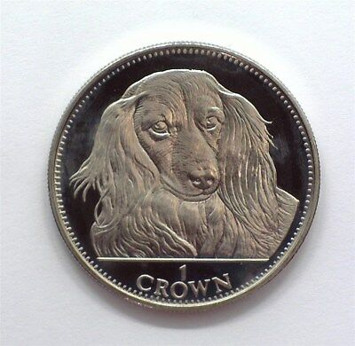 Gibraltar 1993 Crown -Long Haired Dachshund- Exceptional Proof Cameo Km#192.1