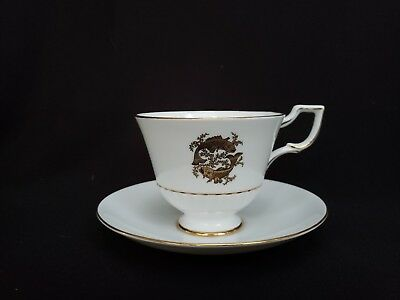 Pisces Tuscan Zodiac Cup and Saucer Bone China England White & Gold