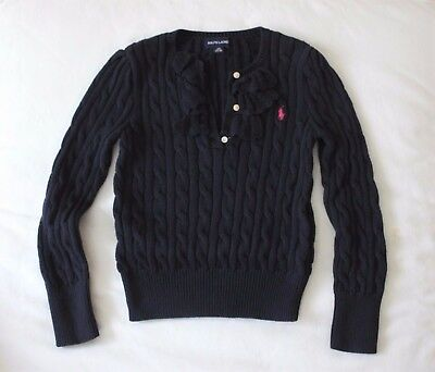 Girls Polo Ralph Lauren Navy Blue Knit Sweater Pullover 120 6y