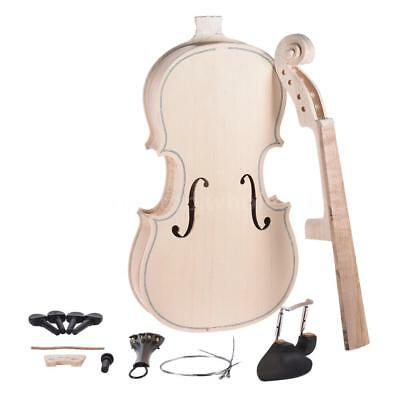 DIY 4/4 Full Size Natural Solid Wood Violin Fiddle Kit Spruce Top Maple C7U5