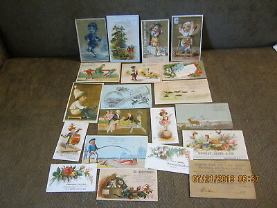 L4 20pc lot VICTORIAN TRADE CARDS flowers CHILDREN fisherman CATS condensed milk