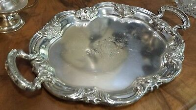 415g SOLID 900 SILVER XIX HANDLE TRAY COLONIAL STYLE: AJENJO