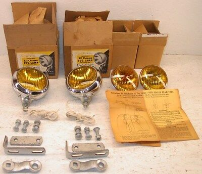 "NORS 1930, 1940, 1950 5"" Universal Chrome Fog Lamps - Chevy Dodge Ford GMC"