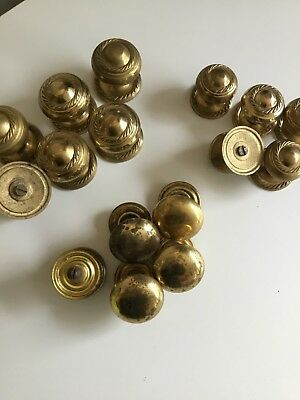 Job Lot Brass Door Knobs Handles Cupboard Pulls Cabinet 16 3 Sets Vintage