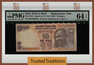 "TT PK 95j* 2008 INDIA 10 RUPEES ""GANDHI"" REPLACEMENT / STAR PMG 64 EPQ CHOICE!"