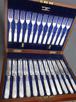Antique 24X Mother Of Pearl Silver Plated Dessert Cutlery Cased Walker & Hall