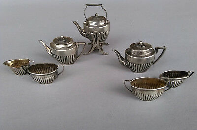 1905 Edwardian English Sterling Silver Miniature Tea Set Doll House