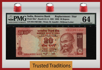 "TT PK 96a* 2006 INDIA 20 RUPEES ""GANDHI"" REPLACEMENT / STAR PMG 64 CHOICE UNC!"