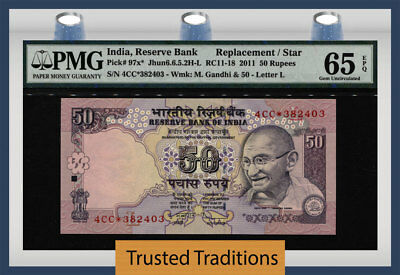 "TT PK 97x* 2011 INDIA 50 RUPEES ""GHANDI"" PMG 65 EPQ GEM UNC REPLACEMENT STAR!"