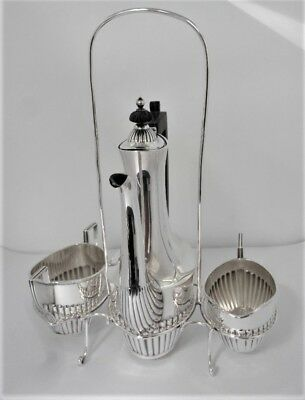 Gorham Sterling Fluted Individual 3 Pc. Tea Set Plus Stand, 390 Grams