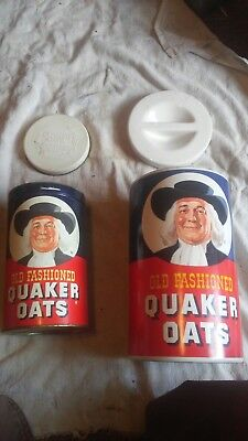 Quaker Oats Cookie Jar Ceramic Canister with tin and Recipes On Back