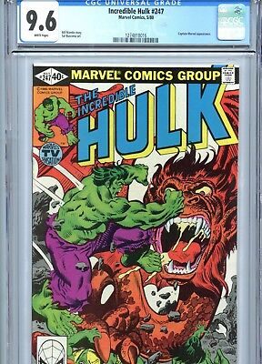 Incredible Hulk #247 CGC 9.6 White Pages Captain Marvel App Marvel Comics 1980