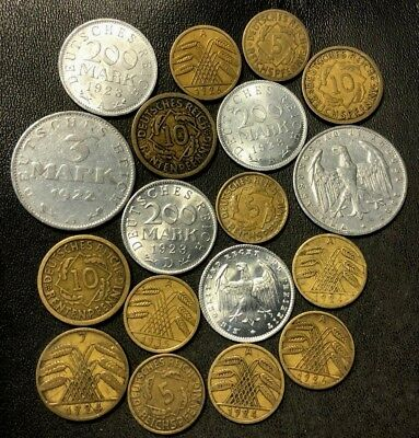 Vintage Weimar Germany Coin Lot - 1922-1936 - 18 Great Coins - Lot #912