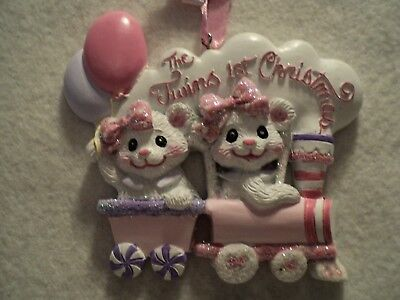 "KSA ""BABY'S 1ST CHRISTMAS ORNAMENT ~ TWIN GIRLS"" ~ Bears ~ For Personalization"