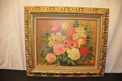 J Karel Floral Still Life Oil Painting on Canvas Signed By Artist 1950's #1531