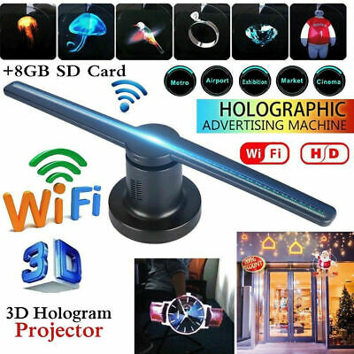 Hologram Projector Fan Wifi 3D LED Holographic Advertising Displayer 1080P 42CM