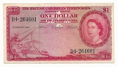 British Caribbean Territories  Dollar $1  2nd January 1962 P. 7c aEF QEII Rare