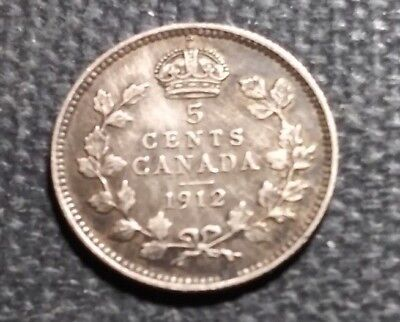 1912 Canada Silver 5 Cents 5c  ~ VF COIN ~  Ruler: George V