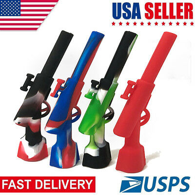 Gun Shape Silicone Smoking Pipe Ace Weed Hand Random Colors US