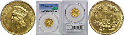 1863 $3 Gold Coin PCGS MS-62 CAC