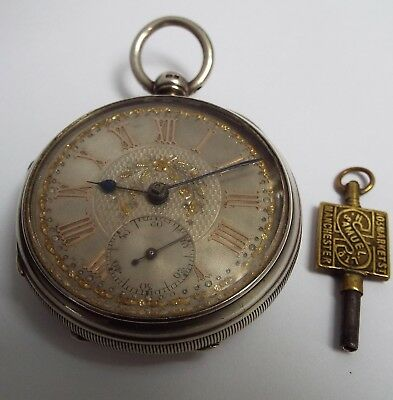 Superb Clean Condition Antique Victorian 1898 Solid Sterling Silver Pocket Watch