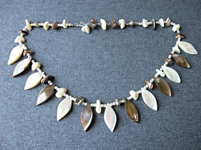 Vintage nice design faux pearls & real mother of pearl mop beaded necklace