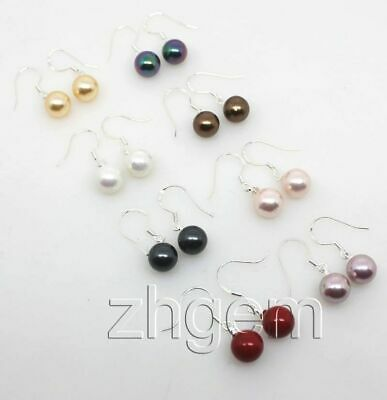 Bulk Lot 8 PAIRS 10mm Multi-Color Shell Mother of Pearl Handmade Hook Earring