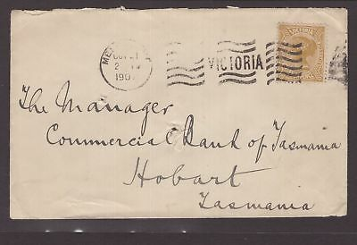 Victoria Tattersalls 1907 cover to Tasmania FOUR PENCE QV stamp applied? 2 scans
