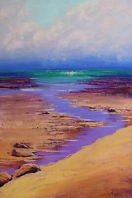 Beach painting Oil Painting Original Seascape Impressionist Ocean Wall Art