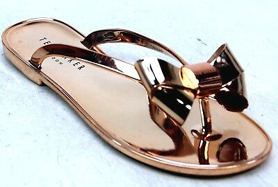 06495c1f9 Womens Ted Baker Glamaar Rose Gold Pvc Jelly Metallic Bow Sandals Shoes  Size 4