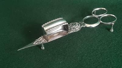 Early C20th Hanwood Silver Plated Geo. Pattern Scissor Action Candle Snuffer