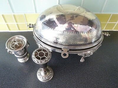 Antique Elkington silver plated roll lid breakfast serving dish ##BIR64BS