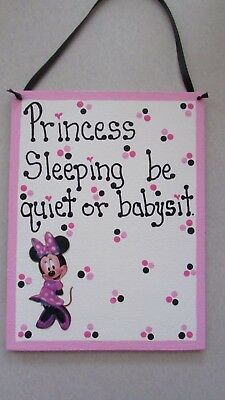 Princess sleeping be quiet or babysit Minnie Mouse Disney nursery custom sign