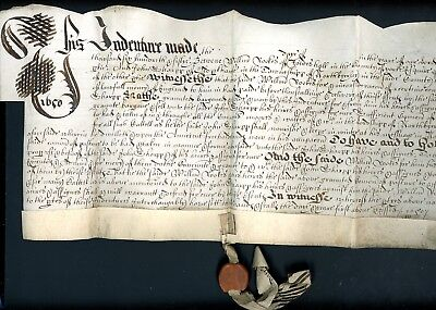 1650  Legal Document  with Wax Seal   (S817)