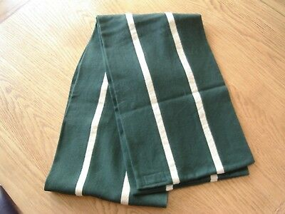 Vintage College Scarf –From Queens College Cambridge?—Green / Cream Stripes.
