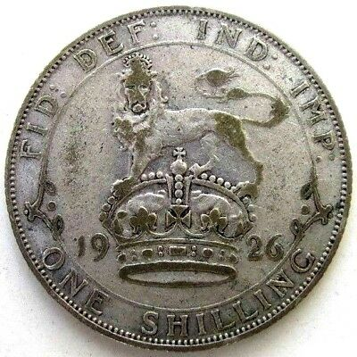 Great Britain Uk Coins, One Shilling 1926, George V, Silver 0.500