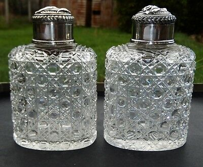 Pair Impressive Antique Indian Solid Silver Mounted Toilet Bottles Madras c1890