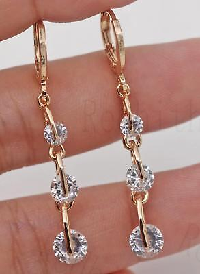 "18K Gold Filled -1.6"" String Round Clear Topaz Gemstone Wedding Dangle Earrings"