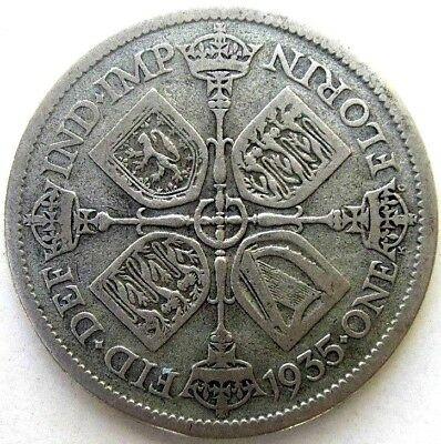 Great Britain Uk Coins, One Florin 1935, George V, Silver 0.500