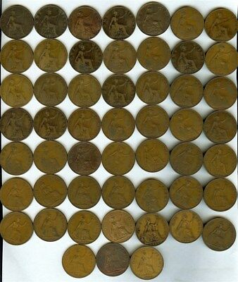 Great Britain 1902-1964 Large Penny Collection 52 Coins