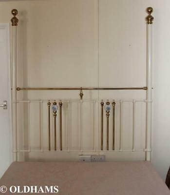 Fantastic Antique Iron Four Poster King Size Double Bed - Cream / Brass