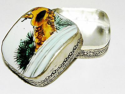 Antique Chinese Qing Ceramic Shard Porcelain Silver Trinket Jewelry Gift Box