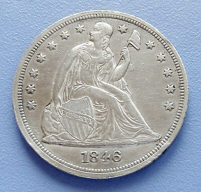 1846 U.s. Liberty Seated Silver Dollar ~ Extra Fine Condition: Edge Bumps