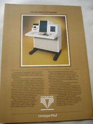 Vintage 1979 LINOTYPE-PAUL System Five Linoscreen Composer Brochure