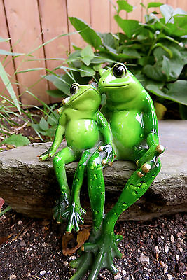 Frog Couple Mom Child Figurine Ornament 6 in.Green Frogs New