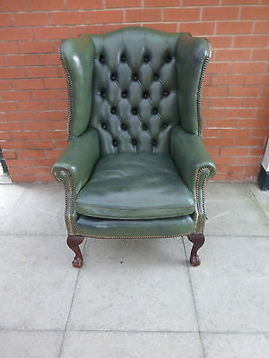 A Green Chesterfield Style Queen Ann Wing Chair **DELIVERY AVAILABLE**