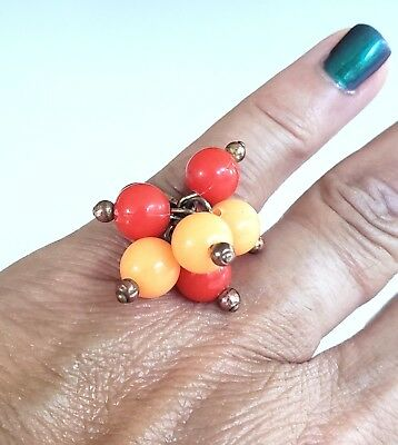 Vintage Orange Lucite Cluster Beads Ring Gold Tone Sz 5.5 Adjustable Mod