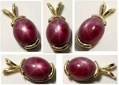 Antique 19thC 5ct Star Ruby Medieval Shaman Divination Gemstone 14kt Pendant