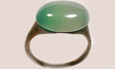 AD300 Roman Carthage (Tunisia) Sz9¼ Ring + 19thC Antique 7ct Siberia Green Agate