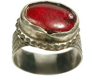"Intricate 18thC Crimean Tatar Silver Alloy Ruby Red Glass ""Gemstone"" Ring Sz 10"